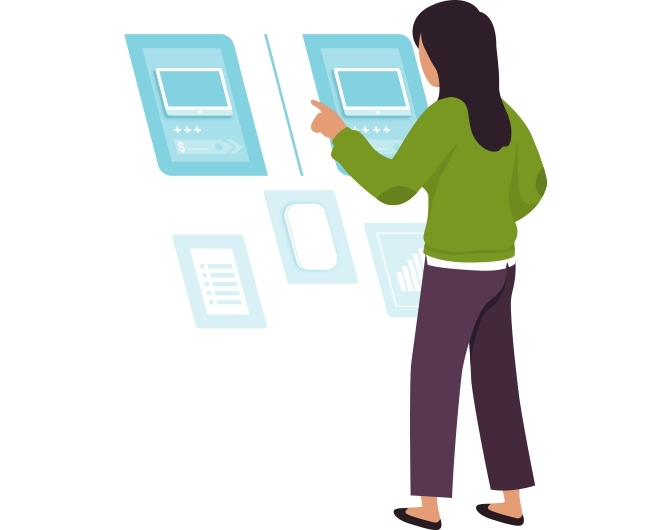 graphic of woman looking at various computer screens and previews