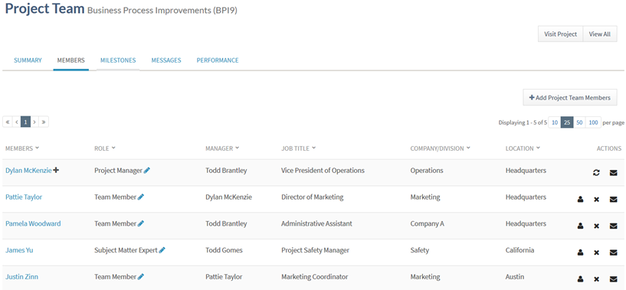 project team for business process improvements screenshot