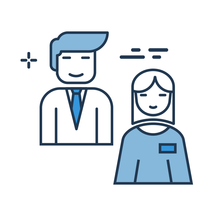 smiling illustration happy businessman and business woman