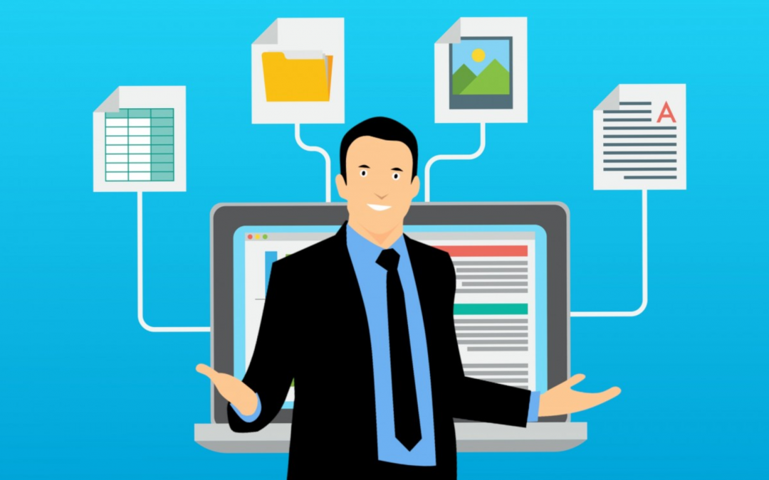 illustration of man in front of computer with different files stemming from computer screen
