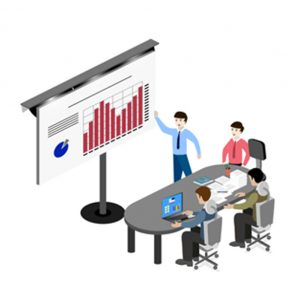 cartoon of people at desk looking at graph