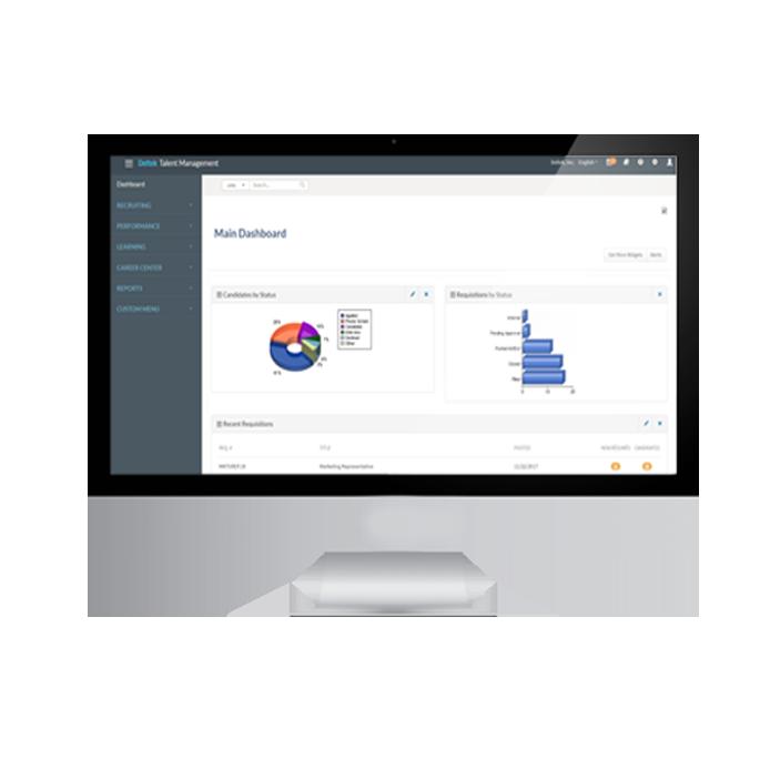 image of main dashboard of deltek talent management on desktop computer